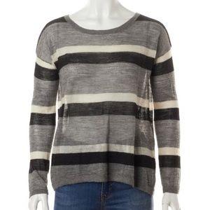 Joie alpaca gray/black/white stripe sweater